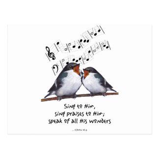 Sing Praise To God: Two Birds, Music Notes, Art Postcard
