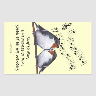 Sing Praise To God: Two Birds, Music Notes, Art Rectangular Sticker