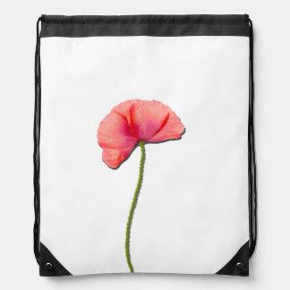 Sing red poppy flower minimalist simplicity drawstring backpack