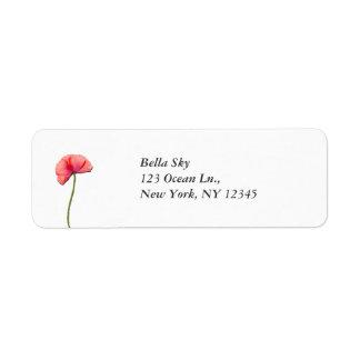 Sing red poppy flower minimalist simplicity label