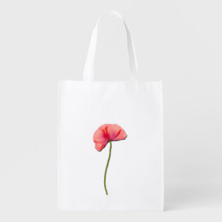 Sing red poppy flower minimalist simplicity reusable grocery bag