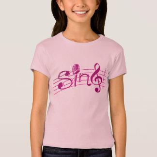 Sing retro mic kids pink logo tee