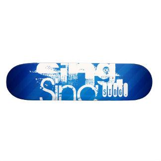 Sing; Royal Blue Stripes. Custom Skate Board