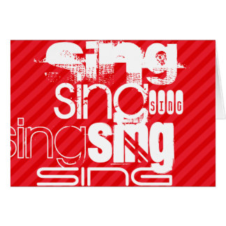 Sing; Scarlet Red Stripes Stationery Note Card
