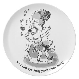 sing  your song cartoon style female singer plate