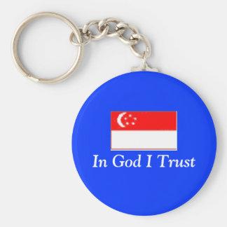 singapor, en confianza de dios I Llavero Redondo Tipo Pin