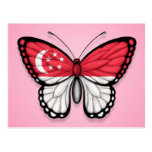 Singapore Butterfly Flag on Pink Post Cards