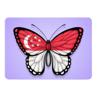 """Singapore Butterfly Flag on Purple 5"""" X 7"""" Invitation Card"""