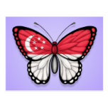 Singapore Butterfly Flag on Purple Postcards