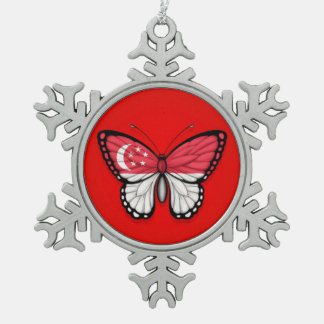 Singapore Butterfly Flag on Red Ornaments