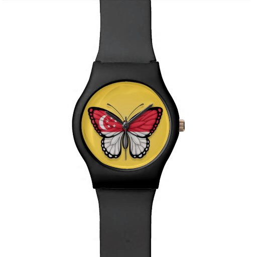 Singapore Butterfly Flag on Yellow Wristwatch