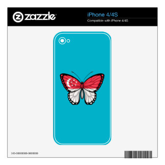 Singapore Butterfly Flag iPhone 4 Decals