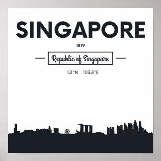 Singapore, China   City Coordinates Poster