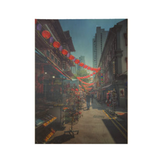 Singapore Chinatown street with red lanterns Wood Poster