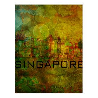 Singapore City Skyline on Grunge Background Illust Postcard