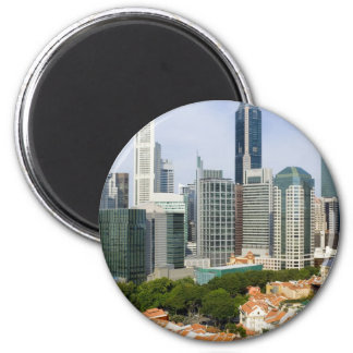 Singapore cityscape 2 inch round magnet