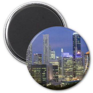 Singapore cityscape at dusk 2 inch round magnet