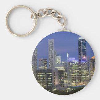 Singapore cityscape at dusk basic round button keychain
