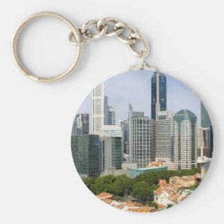 Singapore cityscape basic round button keychain
