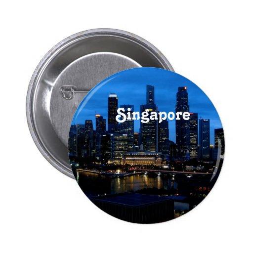 Singapore Cityscape Pinback Buttons