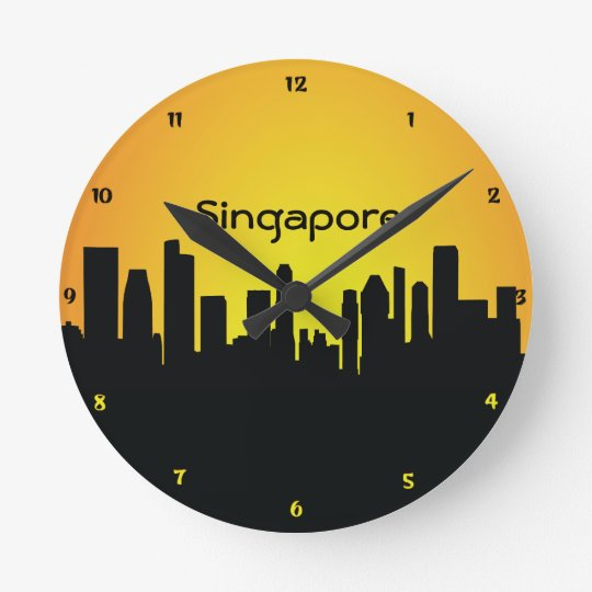 Singapore CityScape Night Silhouette Wall Clock