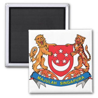 Singapore Coat of Arms detail 2 Inch Square Magnet