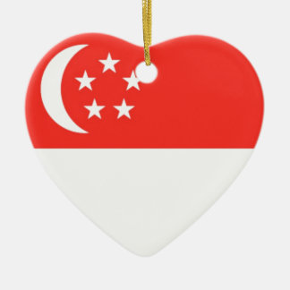 Singapore Flag Double-Sided Heart Ceramic Christmas Ornament