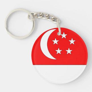 Singapore Flag Double-Sided Round Acrylic Keychain