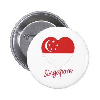 Singapore Flag Heart Button