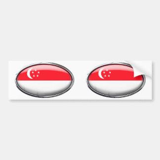Singapore Flag in Glass Oval Car Bumper Sticker