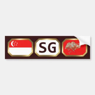 Singapore Flag Map Code Bumper Sticker Car Bumper Sticker