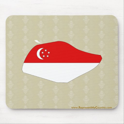 Singapore Flag Map full size Mouse Pads
