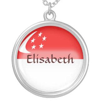 Singapore Flag + Name Necklace