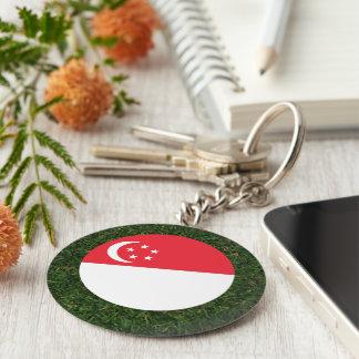 Singapore Flag on Grass Basic Round Button Keychain