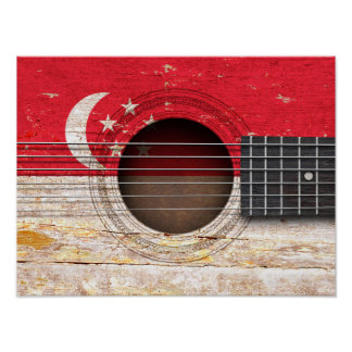 Singapore Flag on Old Acoustic Guitar Posters