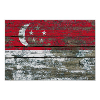 Singapore Flag on Rough Wood Boards Effect Poster