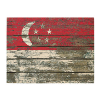 Singapore Flag on Rough Wood Boards Effect Wood Print