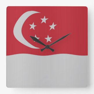 Singapore flag square wall clock