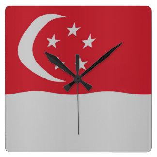 Singapore flag square wallclock