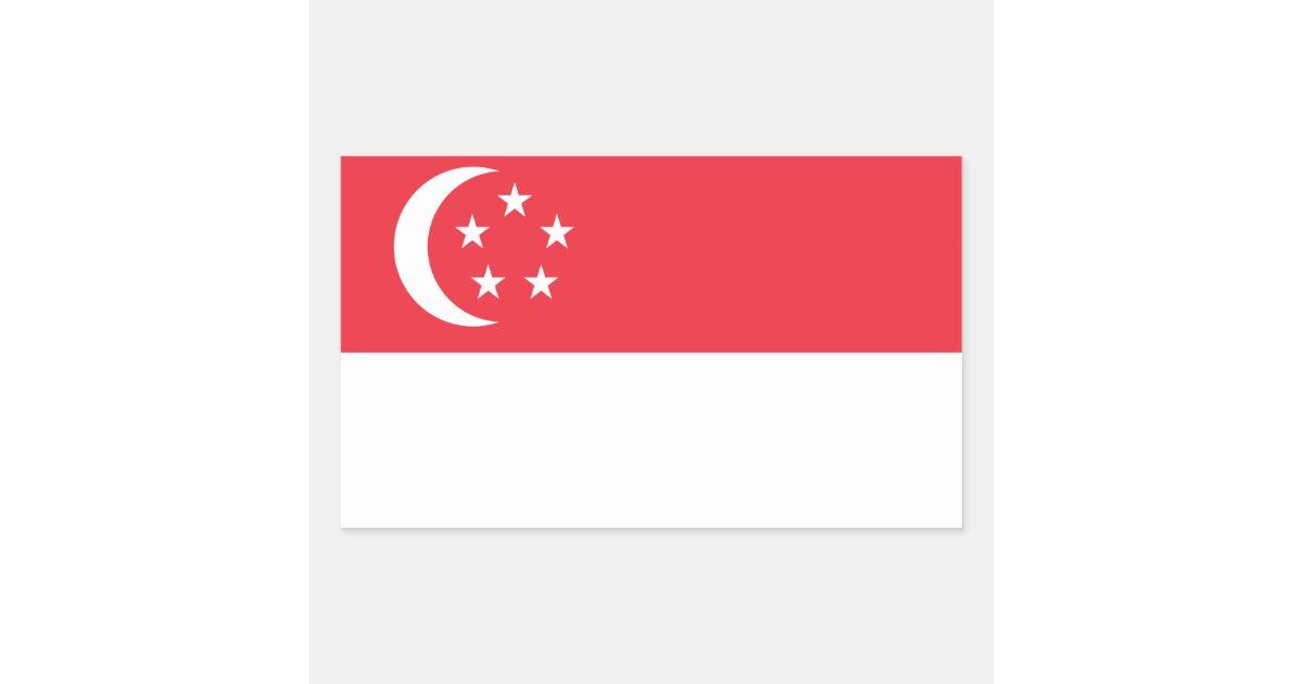 SingaporeFlagStickersRectangularStickerZazzleCom