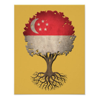 Singapore Flag Tree of Life Customizable Poster