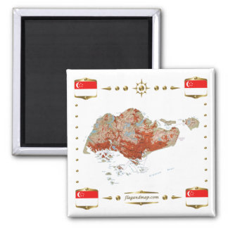 Singapore Map + Flags Magnet