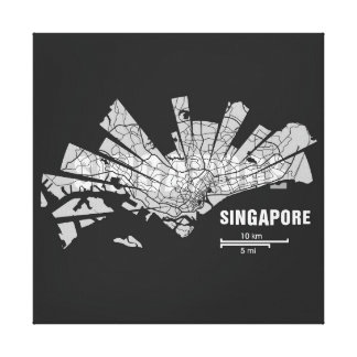 Singapore Map Wrapped Canvas