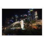 Singapore Merlion on Skyline Photographic Print