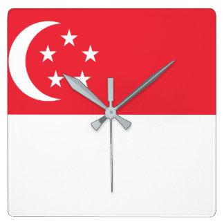 Singapore National World Flag Square Wall Clock