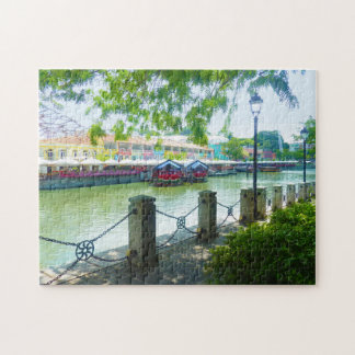 Singapore River waterfront at Clarke Quay jigsaw Jigsaw Puzzle