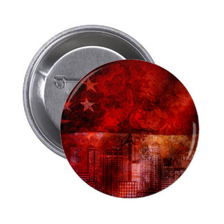 Singapore Skyline and Flag Grunge Background Pinback Button