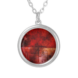 Singapore Skyline and Flag Grunge Background Silver Plated Necklace