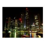 Singapore skyline at night postcard