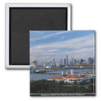 Singapore skyline from Sentosa Island, Singapore 2 Inch Square Magnet